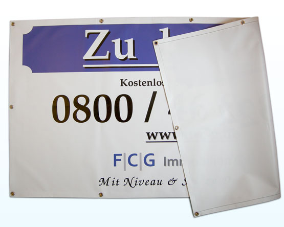 PVC-Banner mit Randverstärkung und Ösen