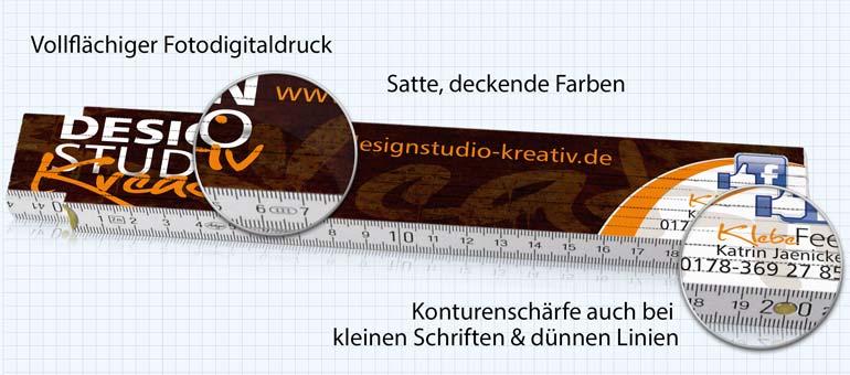 Zollstockdruck im Detail